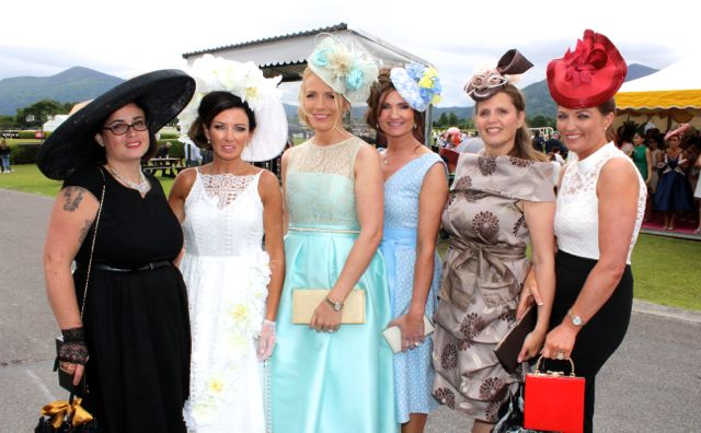 Cathy Troth, Mary Woulfe, Jean Leahy, Aileen O'Connor, Annette Monch and Catriona O'Connor at the Dawn Milk Ladies Day at Killarney Races on Thursday. Photo by Dermot Crean