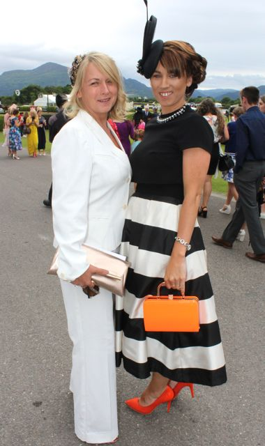 Mags O'Halloran and Aine Wall at the Dawn Milk Ladies Day at Killarney Races on Thursday. Photo by Dermot Crean