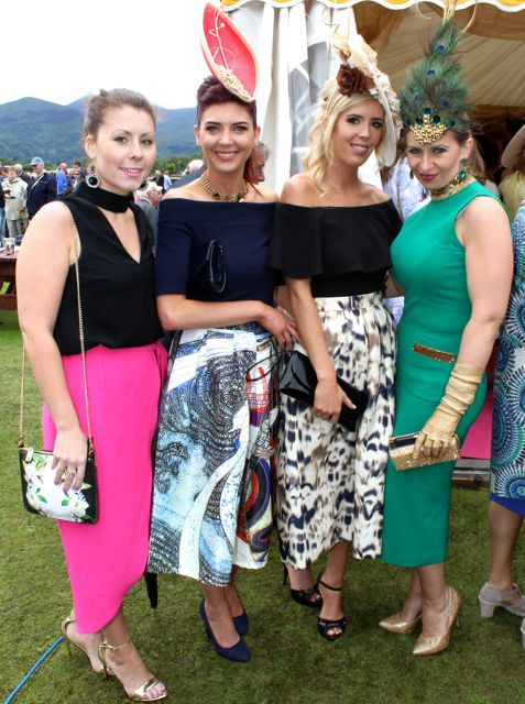 Eileen Murphy, Castlemaine, Nicole O'Brien, Milltown, Brenda O'Brien, Milltown and Mary Herlihy, Rathmore at the Dawn Milk Ladies Day at Killarney Races on Thursday. Photo by Dermot Crean