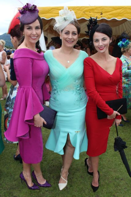 Liza Brennan, Lisa Ragosa and Edel Crowley, Kenmare, wearing fashions from Phoenix V at the Dawn Milk Ladies Day at Killarney Races on Thursday. Photo by Dermot Crean