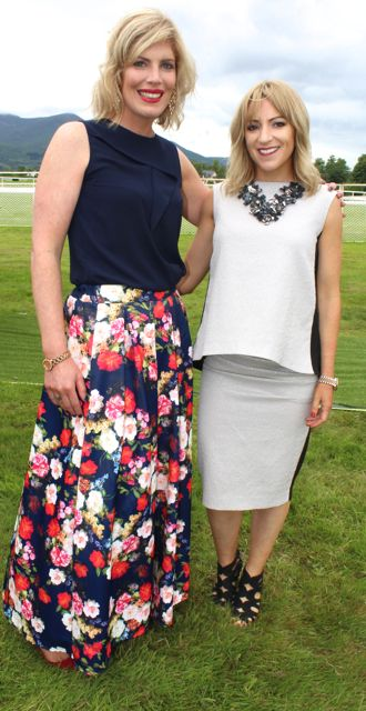 Roisin Breen and Anne Marie Horgan, Dublin, at the Dawn Milk Ladies Day at Killarney Races on Thursday. Photo by Dermot Crean