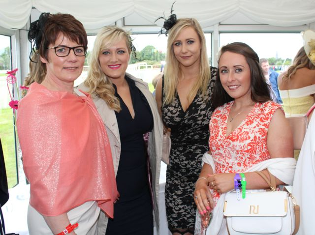 Esther O'Sullivan, Siobhan Cremin, Sinead Sheehy, Kilgarvan, and Aisling O'Sullivan, Beaufort, at the Dawn Milk Ladies Day at Killarney Races on Thursday. Photo by Dermot Crean