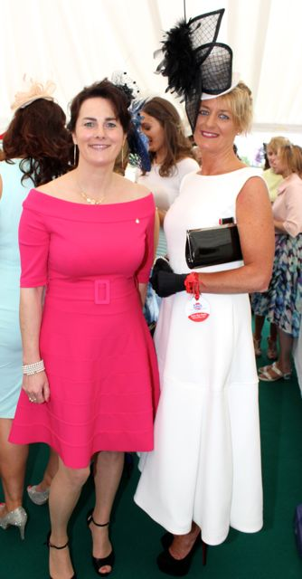 Mairead Healy, Killorglin and Yvonne O'Reilly, Glenbeigh, at the Dawn Milk Ladies Day at Killarney Races on Thursday. Photo by Dermot Crean