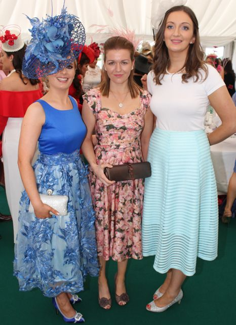 Stacey O'Leary, Kilcummin, Cecily Lynch, Ballingeary, Louise O'Connor, Duagh, at the Dawn Milk Ladies Day at Killarney Races on Thursday. Photo by Dermot Crean