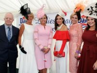 General Manager of Lee Strand, John O'Sullivan with finalists Yvonne O'Reilly, Sinead Hayes, Joanne Wharton O'Sullivan, Agne Kremenskiene and Judge Lisa Cannon, at the Dawn Milk Ladies Day at Killarney Races on Thursday. Photo by Dermot Crean