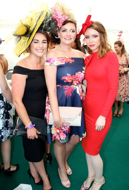 Lorraine Moynihan (Elegant Styles Hair Salon), Niamh O'Neill and Amelia Socharska, Killarney, at the Dawn Milk Ladies Day at Killarney Races on Thursday. Photo by Dermot Crean
