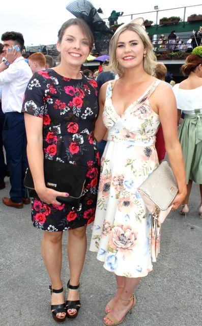 Louise McSweeney, Inchigeelagh, and Jessica Hanrahan, Clonmel, at the Dawn Milk Ladies Day at Killarney Races on Thursday. Photo by Dermot Crean