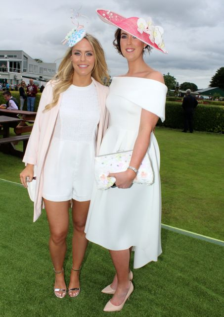 Cara Flannery and Laura Down, Cork, at the Dawn Milk Ladies Day at Killarney Races on Thursday. Photo by Dermot Crean