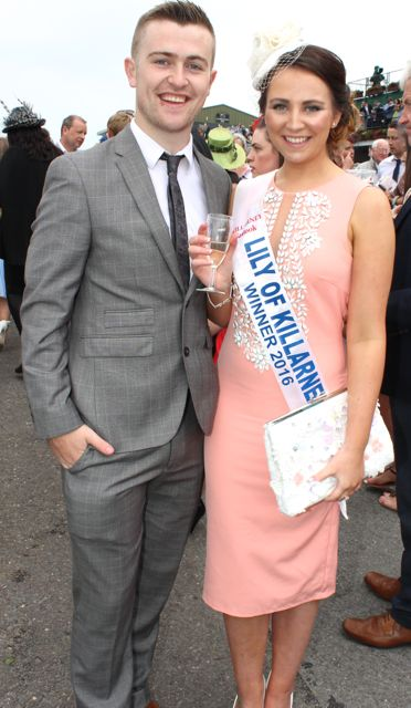 Radio Kerry's Brendan Fuller with Lily of Killarney 2016 Eve O'Donoghue, at the Dawn Milk Ladies Day at Killarney Races on Thursday. Photo by Dermot Crean