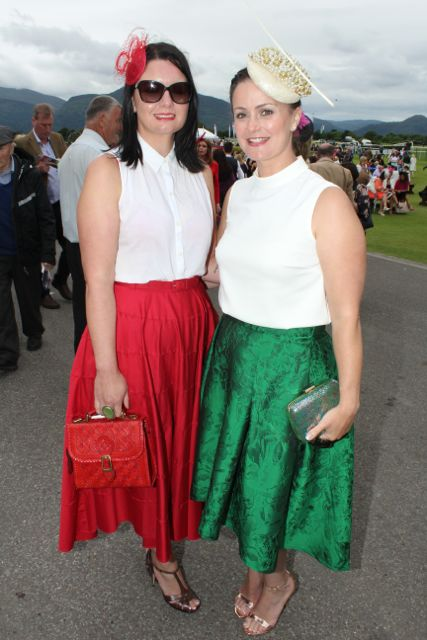 Yvonne O'Mahony and Trish Carloe, Cork, at the Dawn Milk Ladies Day at Killarney Races on Thursday. Photo by Dermot Crean