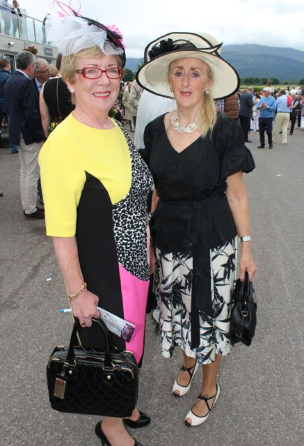 Mary O'Connor, Kilcummin and Sheila McCormack, Athlone, at the Dawn Milk Ladies Day at Killarney Races on Thursday. Photo by Dermot Crean