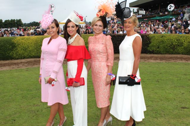 Sinead Hayes Joanne Wharton O'Sullivan, Agne Kremenskiene and Yvonne O'Reilly at the Dawn Milk Ladies Day at Killarney Races on Thursday. Photo by Dermot Crean