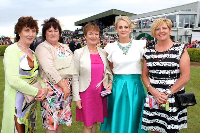 Helen O'Shea and Anna Leader, Rathmore, Mary Murphy, Milltown Brid Lucey of Killarney Racecourse and Kathleen Murphy, Ballyvourney, at the Dawn Milk Ladies Day at Killarney Races on Thursday. Photo by Dermot Crean