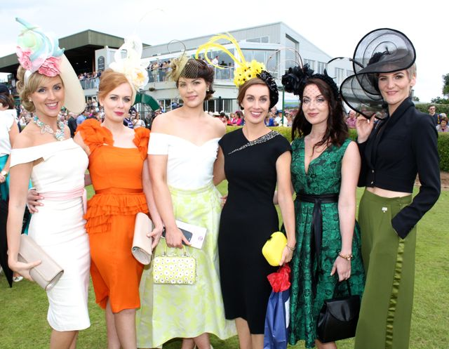 Wearing headpieces by the winner of Queen of Fashion Agne Kremenskiene were Marie Moynihan, Aine O'Donoghue, Siobhan Coakley, Nicola Daly, Lana Stewart and Sarah O'Reilly at the Dawn Milk Ladies Day at Killarney Races on Thursday. Photo by Dermot Crean