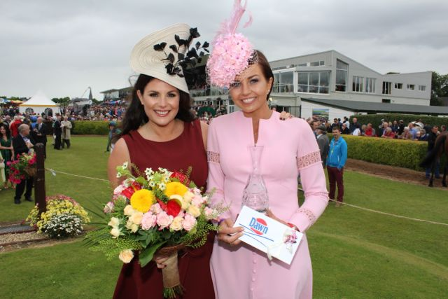 Winner of Most Stylish Hat Sinead Hayes from Cork (right) with Judge Lisa Cannon at the Dawn Milk Ladies Day at Killarney Races on Thursday. Photo by Dermot Crean