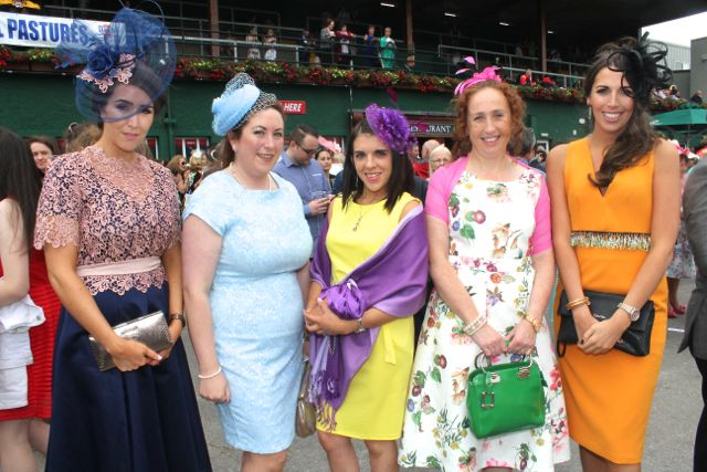 Stephanie Walsh, Diane Murphy, Catriona Reidy, Denise Smith and Elaine Moriarty at the Dawn Milk Ladies Day at Killarney Races on Thursday. Photo by Dermot Crean
