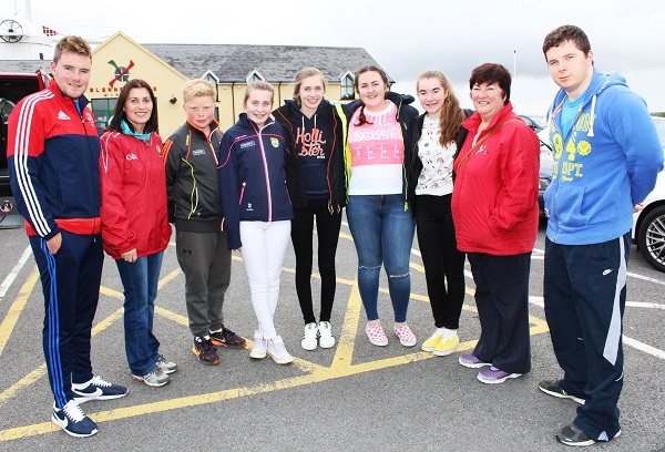 Sean Kerins, Denise Allman, Jack Walsh, Katie Moriarty, Sheanna Moriarty, Kasey O'Donnell, Laura Devane, Joan Devane, and Padraig Griffin at the unveiling of the Nedeen Kelliher memorial plaque in Blennerville. Photo by Gavin O'Connor.