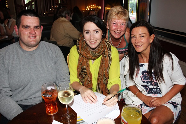 Brian O'Donoghue, Paula Casey, Helena Shanahan and Marie McKenna at the table quiz in aid of Fenit RNLI. Photo by Gavin O'Connor.