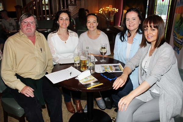 Kieran Moriarty, Olive, Ashling, Breda and Kay Lynch at the table quiz in aid of Fenit RNLI. Photo by Gavin O'Connor.