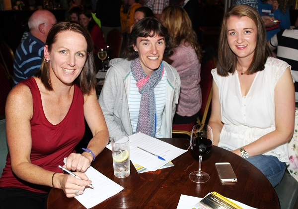 Bridget Moore, Niamh Griffin and Laura Daly at the table quiz in aid of Fenit RNLI. Photo by Gavin O'Connor.