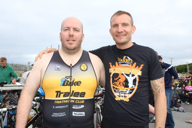 Tom Kenny and Paul Kennedy at the Tri Kingdom Come Triathlon in Fenit on Saturday morning. Photo by Dermot Crean