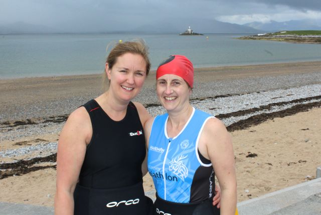 Clodagh Quirke and Tina O'Donoghue, Listry, at the Tri Kingdom Come Triathlon in Fenit on Saturday morning. Photo by Dermot Crean