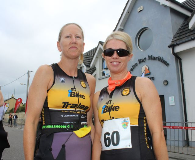 Niamh Murphy and Adrienne O'Carroll at the Tri Kingdom Come Triathlon in Fenit on Saturday morning. Photo by Dermot Crean
