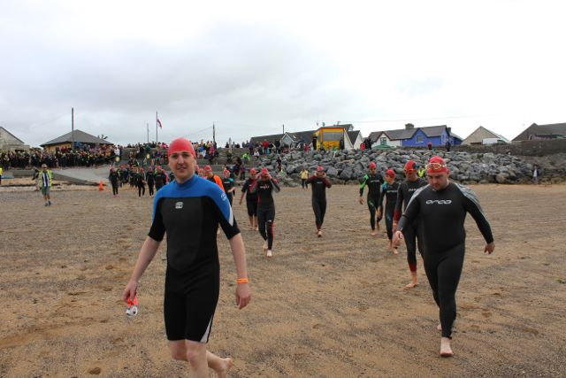 Try a Tri participants at the Tri Kingdom Come Triathlon in Fenit on Saturday morning. Photo by Dermot Crean