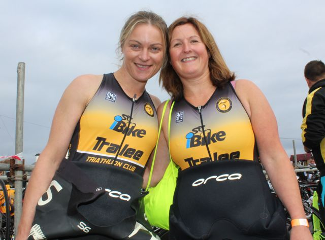 Rose Smith and Mags Spillane, Castlegregory, at the Tri Kingdom Come Triathlon in Fenit on Saturday morning. Photo by Dermot Crean
