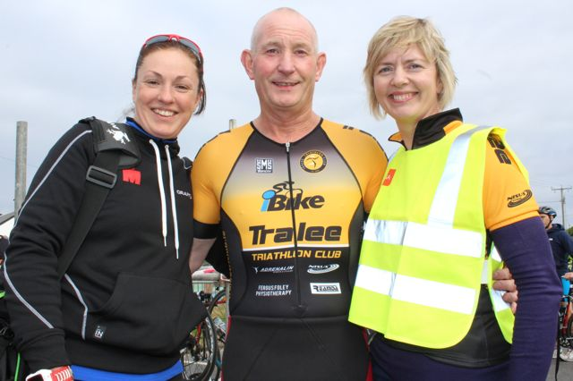 Catriona Kelly, Tim Houlihan and Jean Foley at the Tri Kingdom Come Triathlon in Fenit on Saturday morning. Photo by Dermot Crean