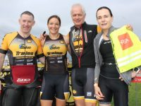 Tom Gentlemen, Suzanne O'Sullivan, Ciaran O'Callaghan and Angie O'Sullivan at the Tri Kingdom Come Triathlon in Fenit on Saturday morning. Photo by Dermot Crean