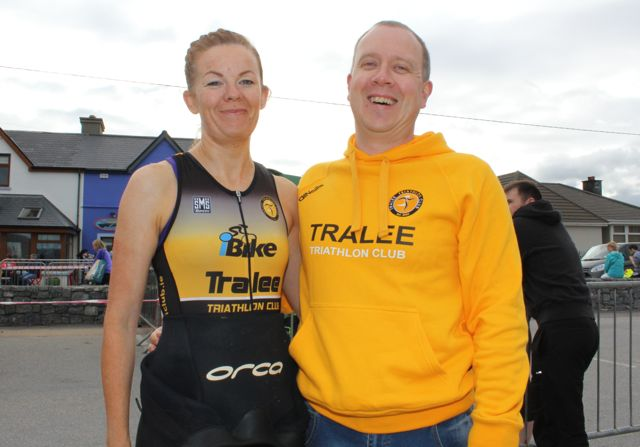 Sinead Stafford and Mike Hayes at the Tri Kingdom Come Triathlon in Fenit on Saturday morning. Photo by Dermot Crean