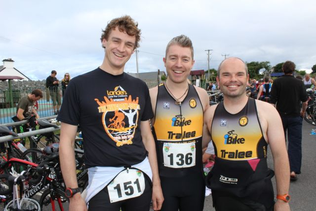 Gerard Pierse, Alan Locke and Andy Conway at the Tri Kingdom Come Triathlon in Fenit on Saturday morning. Photo by Dermot Crean