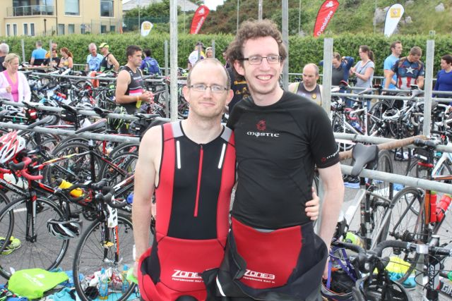 Michael and Brendan O'Connell at the Tri Kingdom Come Triathlon in Fenit on Saturday morning. Photo by Dermot Crean