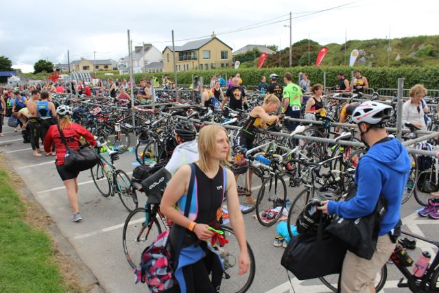 Participants prepare at the Tri Kingdom Come Triathlon in Fenit on Saturday morning. Photo by Dermot Crean