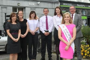 Launching the International Women's Conference in Tralee were, from left: Elaine Tierney, Sarah o'Regan, Eddie Bowler, Oonagh Harrington, Elysha Brennan (Rose of Tralee) and Joe Shanahan (Manager of AIB Tralee Branch). Photo by Gavin O'Connor.