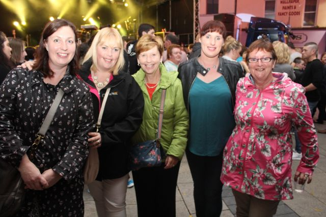 North Kerry ladies Tanya Kissane, Catherine Stack, Anne Carmody, Maura O'Hanlon and Marian O'Hanlon at the Nathan Carter concert on Tuesday night. Photo by Dermot Crean