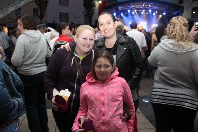Sharon McNeigh, Isobel McNeigh and Bernadette Langan at the Nathan Carter concert on Tuesday night. Photo by Dermot Crean
