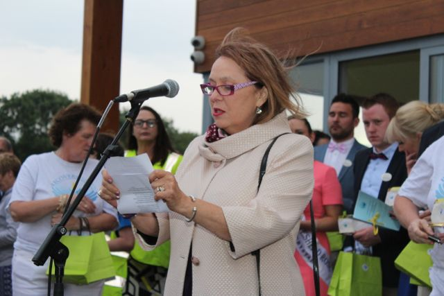 Eibhlin Henggeler speaking at the Celebration Of Light at the Tralee Bay Wetlands on Tuesday night. Photo by Dermot Crean