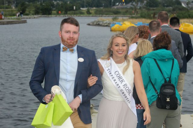 Escort Shane Kenny with Cork Rose Denise Collins at the Celebration Of Light at the Tralee Bay Wetlands on Tuesday night. Photo by Dermot Crean