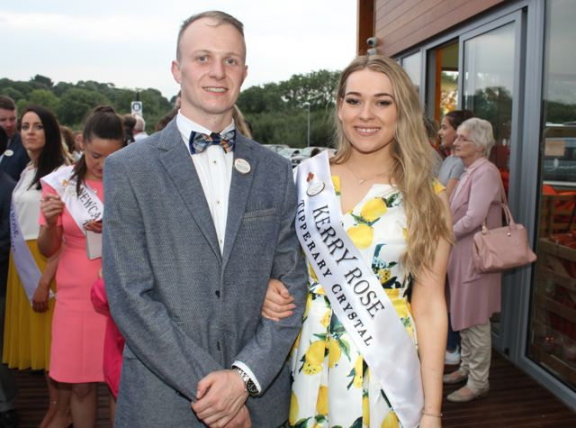 Escort Stewart Nolan from Tralee with Kerry Rose Danielle O'Sullivan at the Celebration Of Light at the Tralee Bay Wetlands on Tuesday night. Photo by Dermot Crean