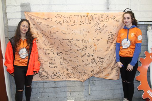 Rachel Walsh and Jennifer Byrne volunteers in at the Cycle Against Suicide Spinoff on Saturday. Photo by Dermot Crean