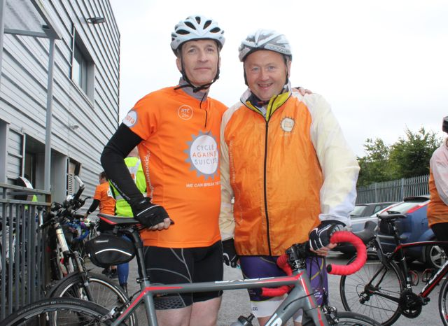 Roger Price and John Murray before the start of the Cycle Against Suicide Spinoff in Tralee on Saturday. Photo by Dermot Crean