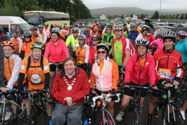 Mayor of Tralee, Cllr Terry O'Brien, launching the start of the Cycle Against Suicide Spinoff on Saturday. Photo by Dermot Crean