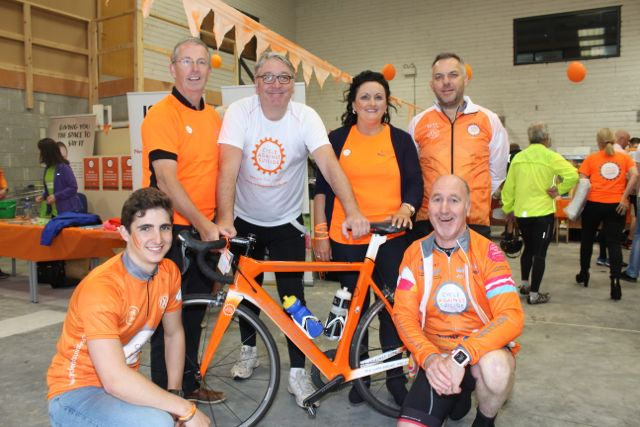 At Aspen Grove before the start of the Cycle Against Suicide Spinoff in Tralee on Saturday were in front; Cormac Sertutxa and Dermot Whitman. Back; Paul McBride, CEO Cycle Against Suicide, DJ Colm Hayes, Clodagh Moynihan and Sean Ryan of Aspen Grove. Photo by Dermot Crean