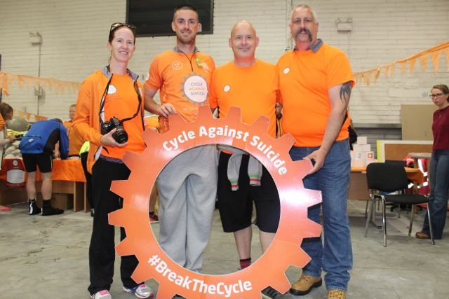 Claire Finn, Colin Aherne, Danny O'Shea and Dan Quirke before the start of the Cycle Against Suicide Spinoff in Tralee on Saturday. Photo by Dermot Crean