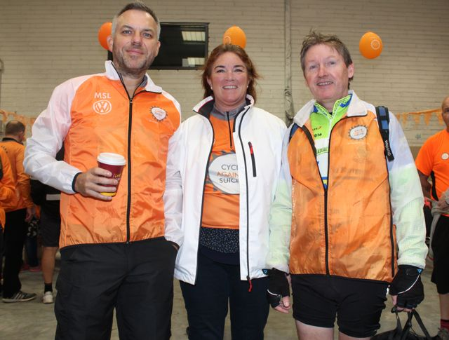 Sean Ryan, Grace O'Donnell and James Clifford before the start of the Cycle Against Suicide Spinoff in Tralee on Saturday. Photo by Dermot Crean