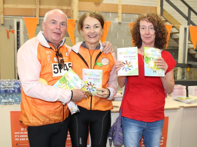 Gerry and Angeline Driver and Jacqui Brook before the start of the Cycle Against Suicide Spinoff in Tralee on Saturday. Photo by Dermot Crean