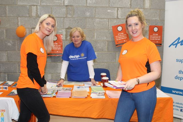 Mairead O'Mahony, Dolores Gallagher of Aware and Charlene Doody of Aspen Grove before the start of the Cycle Against Suicide Spinoff in Tralee on Saturday. Photo by Dermot Crean