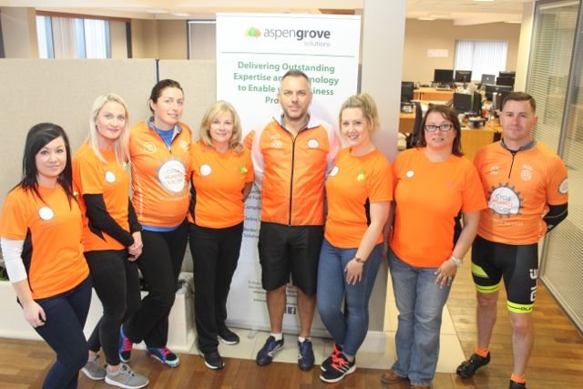 Sean Ryan, CEO of Aspen Grove Solutions with staff supporting the Cycle Against Suicide Spinoff in Tralee on Saturday. From left; Nikki McElligott, Mairead O'Mahony, Aedemar O'Neill, Carina Halloran, Charlene Doody, Grace Egan and Eddie Lacey. Photo by Dermot Crean